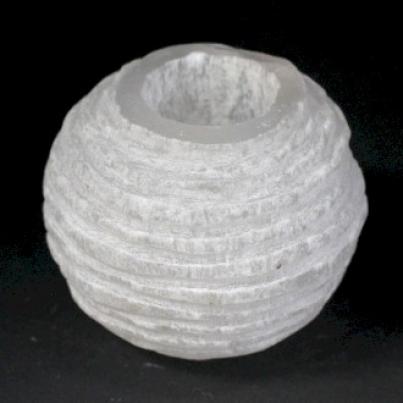 Suporte de vela de bola de neve de selenito- 8 cm