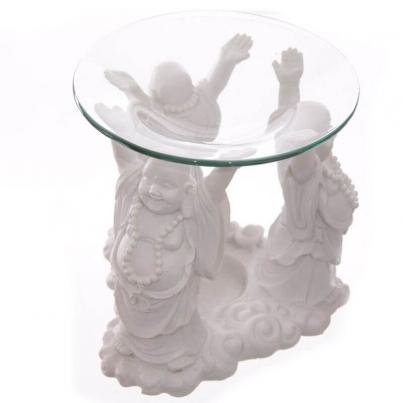 Suporte para velas Buda branco rindo-se 11cm