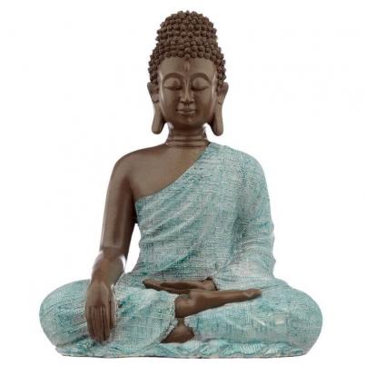 Buda Thai Verdigris Castanho e Azul - Amor