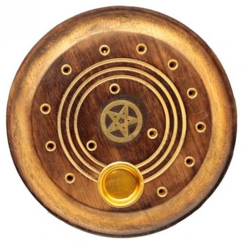 Queimador de Incenso redondo em madeira MANGO - Pentagrama