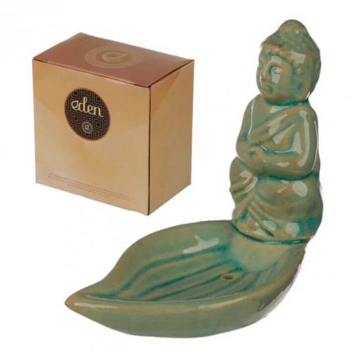 Conjunto de Cerâmica Eden - Prato em Forma de Folha e Buda Thai