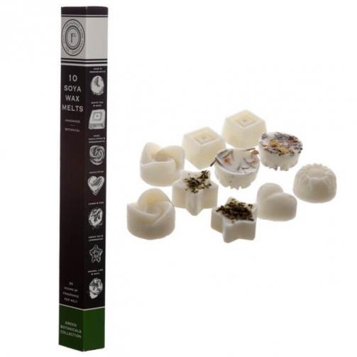 Conjunto de 10 ceras artesanais de soja - Botânico verde
