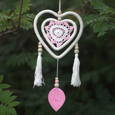 Caça Sonhos - Coração Rosa médio