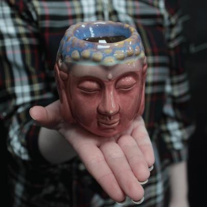 Queimador de Óleo Buda cara - Rosa e azul