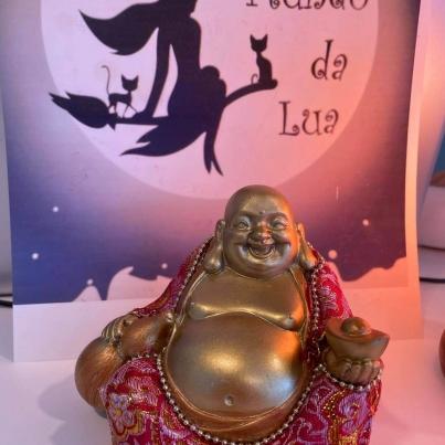 Buda Chinês Sentado (pequeno - vermelho e dourado)