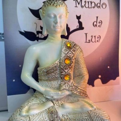 Buda Thai Branco e dourado 20cm